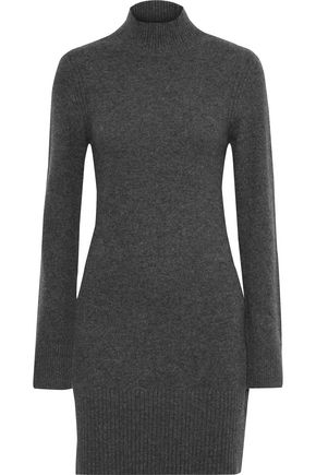 FRAME Mélange cashmere turtleneck mini dress