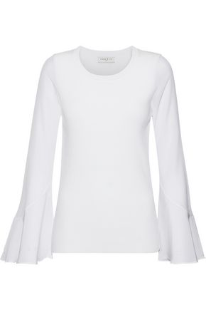 SANDRO Ruddy washed silk-paneled ribbed-knit top
