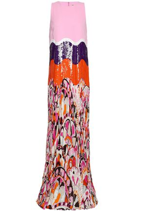 EMILIO PUCCI Sequined-paneled silk-blend crepe and printed plissé-georgette gown