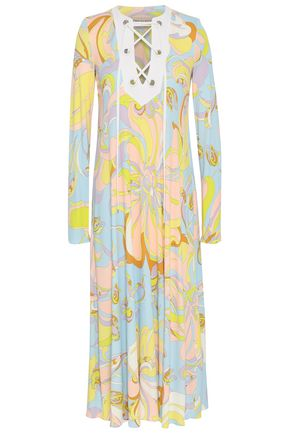 EMILIO PUCCI Lace-up printed jersey midi dress