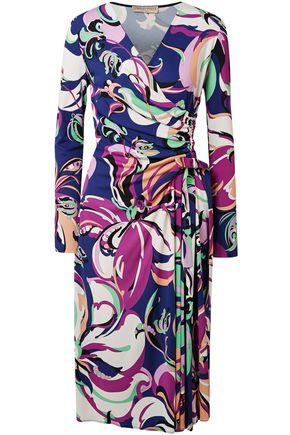 EMILIO PUCCI Aruba wrap-effect printed stretch-jersey midi dress