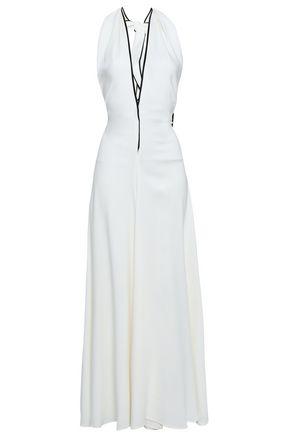 GENTRYPORTOFINO | Gentryportofino Woman Crepe Halterneck Jumpsuit White | Goxip