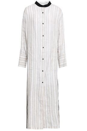 GENTRYPORTOFINO Paneled cotton-poplin and knitted tunic