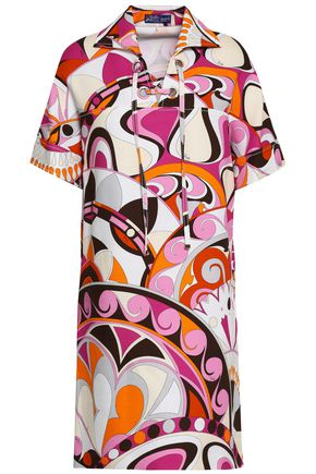 EMILIO PUCCI Lace-up printed cotton-cloqué mini shirt dress