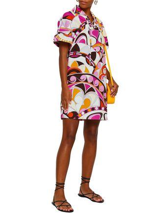 EMILIO PUCCI Lace-up printed cotton-cloqué mini shirt dress