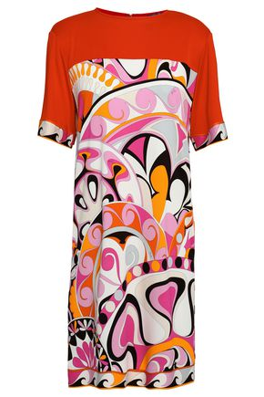 EMILIO PUCCI Paneled printed jersey mini dress