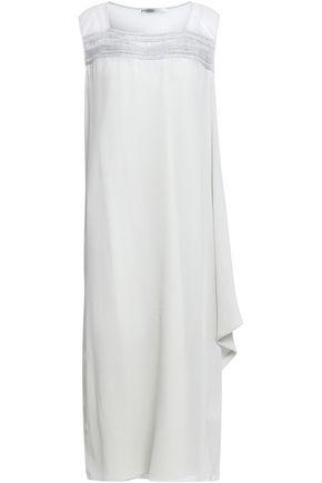 GENTRYPORTOFINO Crochet-trimmed draped silk-georgette midi dress