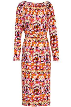 EMILIO PUCCI Belted printed jersey midi dress