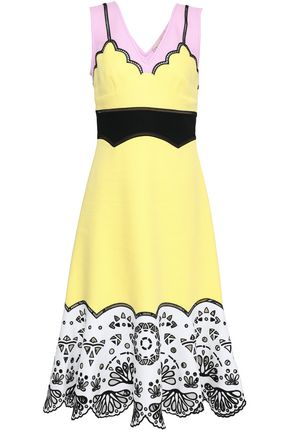 EMILIO PUCCI Color-block broderie anglaise-paneled cotton midi dress