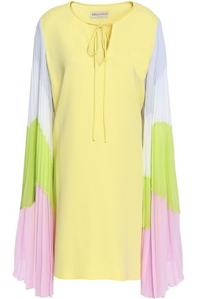 EMILIO PUCCI Pleated lace-up color-block silk-blend mini dress