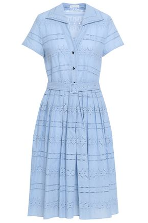 SANDRO Pleated broderie anglaise cotton-blend shirt dress