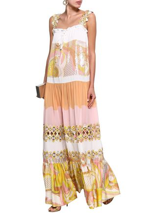 d3cded71 EMILIO PUCCI Sequin-embellished paneled printed silk maxi dress