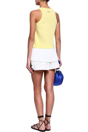 EMILIO PUCCI Layered stretch-cotton jersey and broderie anglaise poplin tank