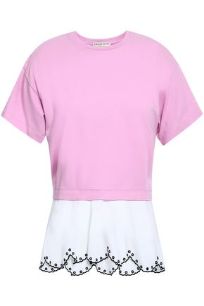 EMILIO PUCCI Two-tone broderie anglaise-paneled cotton-blend jersey T-shirt