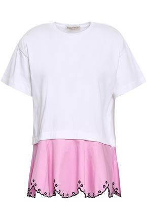 EMILIO PUCCI Broderie anglaise-trimmed cotton-poplin and jersey top