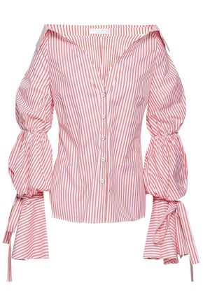 CAROLINE CONSTAS Tie-detailed striped cotton-poplin shirt
