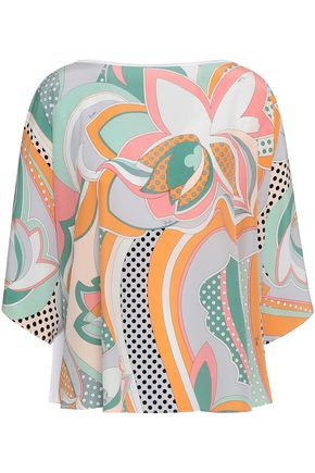 EMILIO PUCCI Printed silk crepe de chine and cotton-jersey top