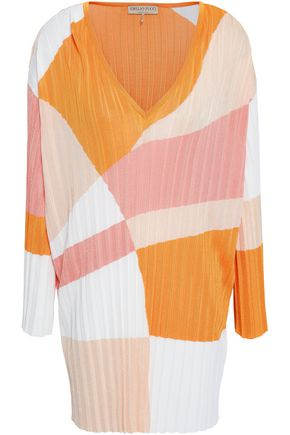 EMILIO PUCCI Color-block ribbed-knit mini dress