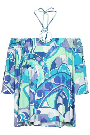 EMILIO PUCCI Off-the-shoulder printed stretch-jersey halterneck top
