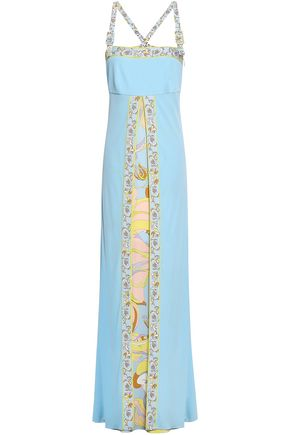 EMILIO PUCCI Pleated printed stretch-jersey maxi dress