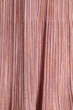 SANDRO Pointelle-trimmed metallic knitted dress