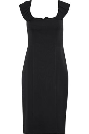 MILLY Savannah ruffle-trimmed stretch-cady dress