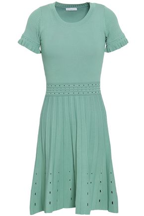 SANDRO Pointelle-trimmed stretch-knit dress