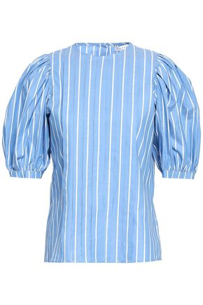 SANDRO Vula striped cotton-blend poplin top