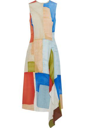ROSETTA GETTY Draped printed silk crepe de chine midi dress