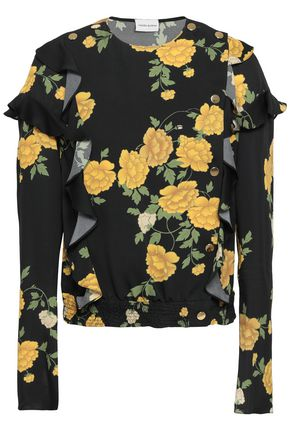 MAGDA BUTRYM Ruffled shirred floral-print silk-crepe wrap top
