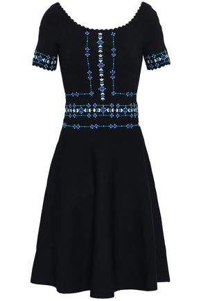 SANDRO Embroidered woven dress