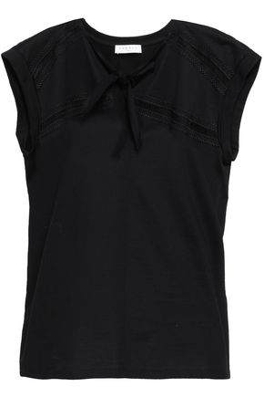 SANDRO Open knit-trimmed knotted cotton-jersey top