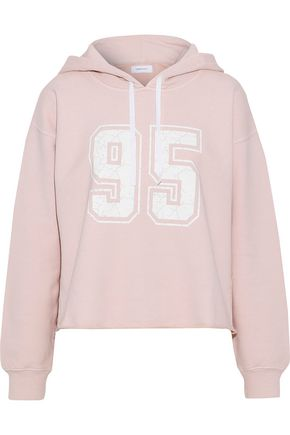 CURRENT/ELLIOTT The Cropped printed French cotton-terry hoodie