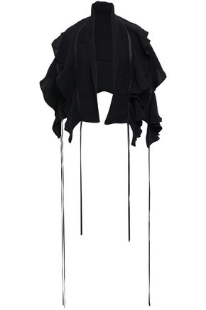 MAGDA BUTRYM Leather-trimmed ruffled silk crepe de chine cape