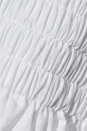 ROSETTA GETTY Smocked cotton-poplin top