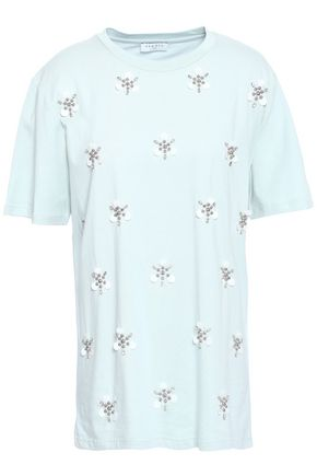 SANDRO Embellished cotton and modal-blend jersey T-shirt