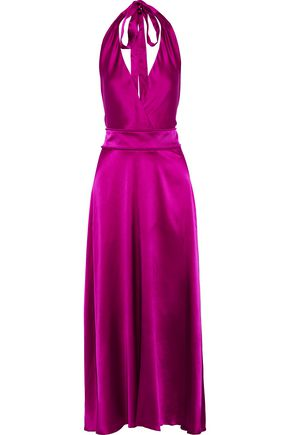 MAJE Rivoine stretch-silk satin halterneck maxi dress