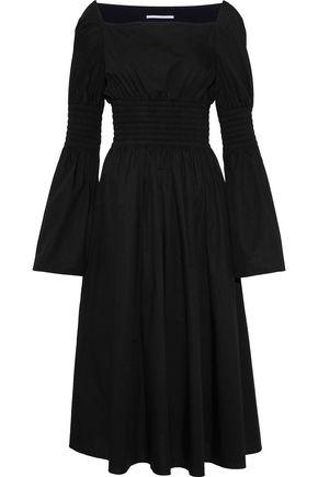 ROSETTA GETTY Smocked cotton-poplin midi dress