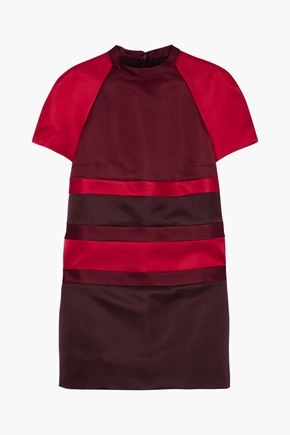 VALENTINO Color-block silk duchesse-satin mini dress