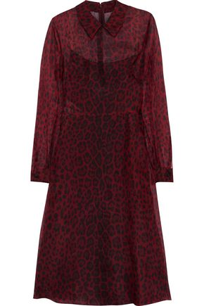 VALENTINO Leopard-print silk-blend organza shirt dress