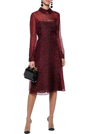 VALENTINO Leopard-print silk-blend organza shirt dress