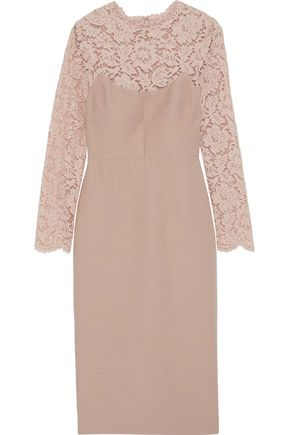 VALENTINO Two-tone corded lace-paneled wool and silk-blend midi dress