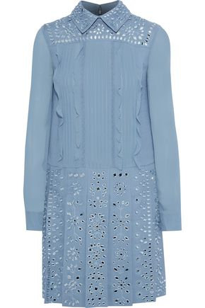 VALENTINO GARAVANI Embellished chiffon-paneled pleated wool and silk-blend crepe mini dress