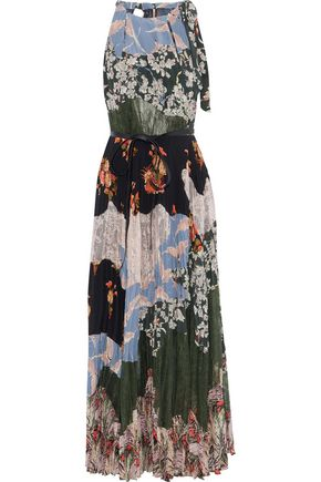 VALENTINO Patchwork lace and floral-print silk crepe de chine maxi dress