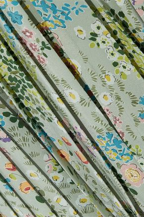 VALENTINO Lace-paneled floral-print silk crepe de chine dress