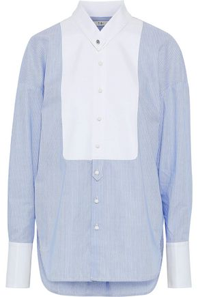 TIBI Oversized striped cotton-poplin shirt