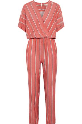 MAJE Pandora wrap-effect striped gauze jumpsuit