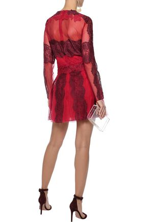 VALENTINO Pleated cotton-blend lace-appliquéd tulle mini dress
