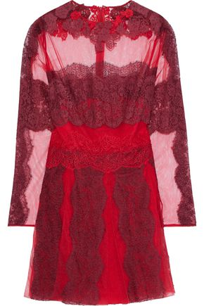 VALENTINO Pleated cotton-blend lace-appliquéd tulle mini dress