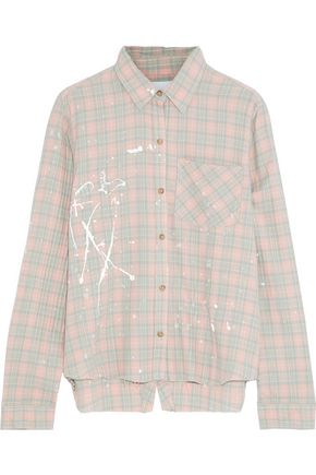 CURRENT/ELLIOTT The Ivie open-back painted checked cotton-blend shirt